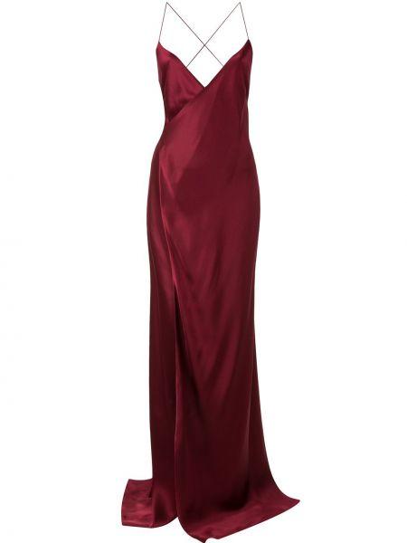 Вечернее платье с V-образным вырезом шелковое Michelle Mason