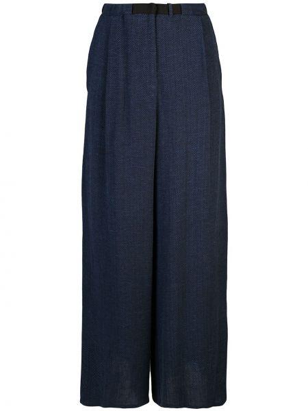 Niebieskie spodnie z wysokim stanem z paskiem Dusan