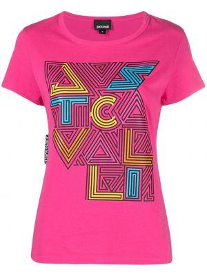 Хлопковая розовая футболка с вырезом Just Cavalli