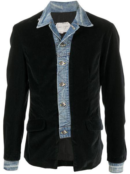 Z rękawami aksamit czarny kurtka jeansowa z kieszeniami Greg Lauren