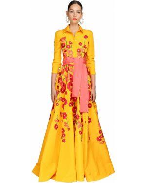 Платье с поясом с пайетками с вышивкой Carolina Herrera