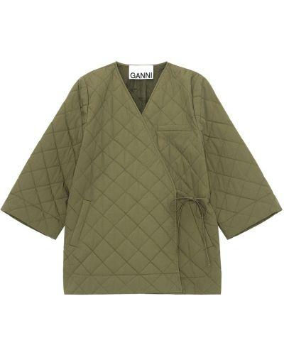 Парусиновое зеленое стеганое пальто Ganni