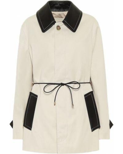 Ватное пальто классическое айвори с опушкой из габардина Tod's