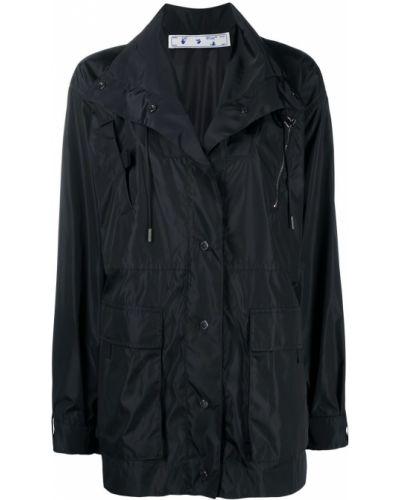 Czarny płaszcz przeciwdeszczowy zapinane na guziki Off-white