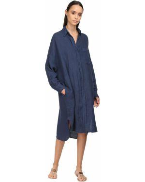 Восточное льняное платье макси с манжетами с воротником Max Mara