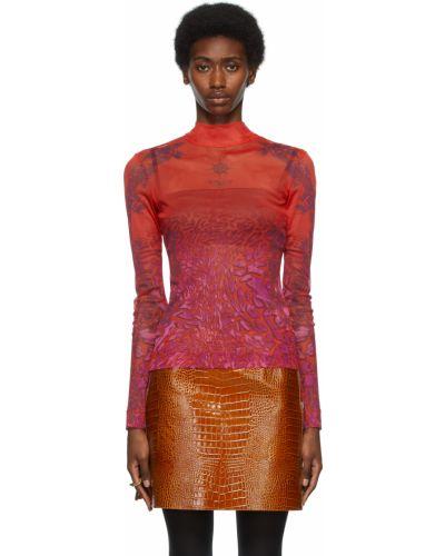 Fioletowa bluzka z długimi rękawami z siateczką Givenchy