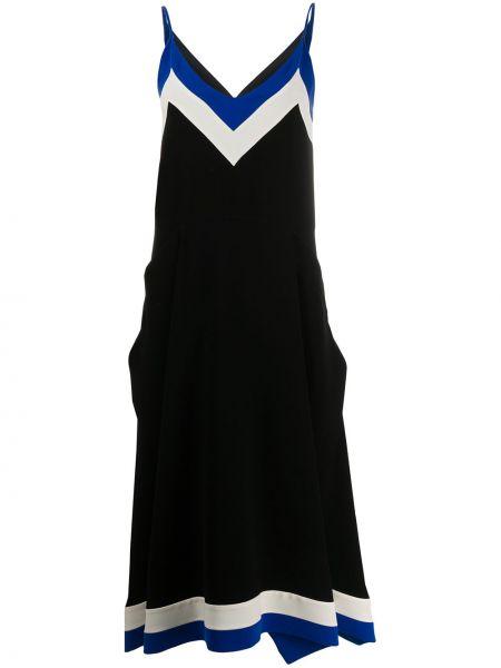 Тонкое черное платье с вырезом Mulberry