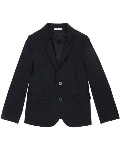 Wełniany czarny kurtka z mankietami z kieszeniami Dolce And Gabbana