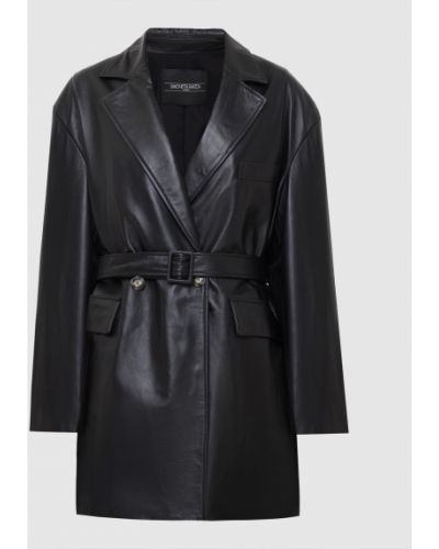 Черное кожаное пальто Simonetta Ravizza