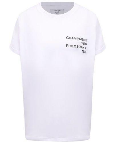 Хлопковая белая футболка Seven Lab