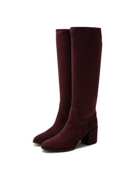 Замшевые красные ботинки на каблуке на каблуке свободного кроя Tods