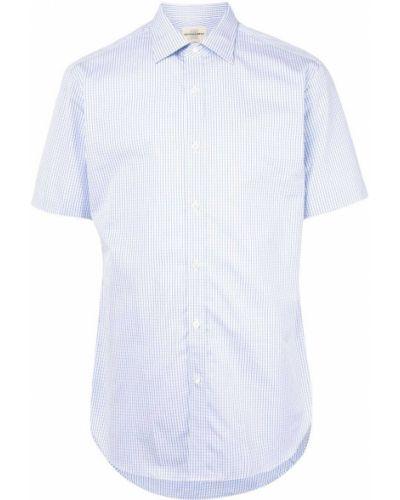 Классическая синяя классическая рубашка с воротником с короткими рукавами Kent & Curwen