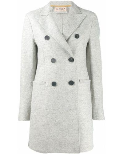 Приталенное серое шерстяное пальто классическое Blanca
