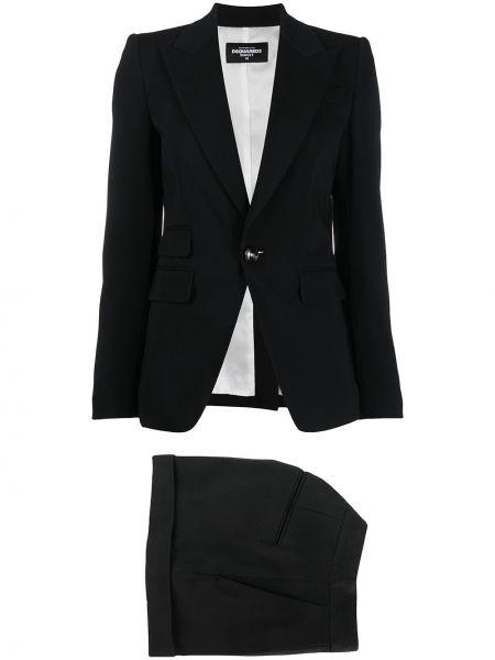 Klasyczny czarny garnitur bawełniany Dsquared2