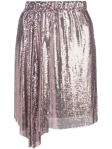 Розовая асимметричная юбка мини с оборками с поясом Paco Rabanne