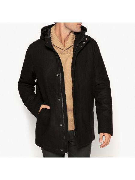 Черное шерстяное пальто с воротником на молнии La Redoute Collections