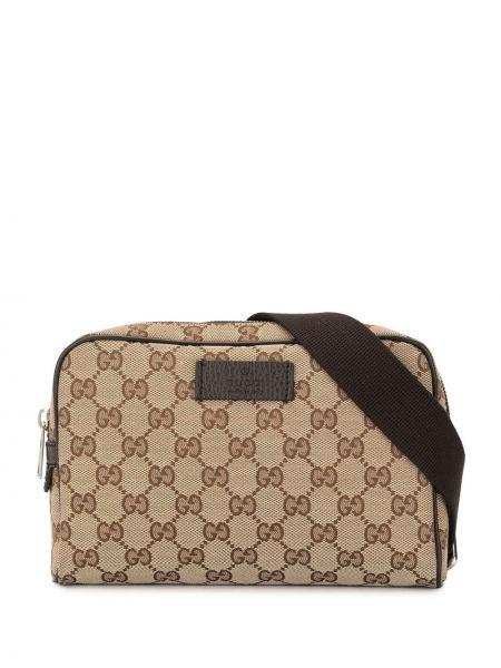 Коричневая парусиновая поясная сумка с помпоном на молнии Gucci Pre-owned