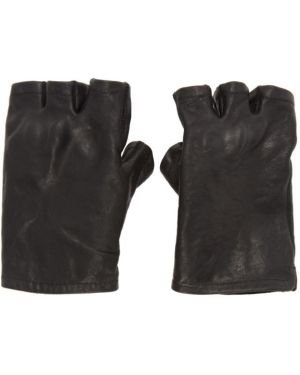 Кожаные перчатки без пальцев черные Boris Bidjan Saberi