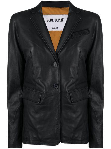 Однобортный черный кожаный удлиненный пиджак S.w.o.r.d 6.6.44