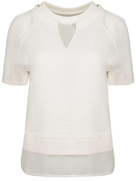 Белая футбольная футболка с сеткой с круглым вырезом Moncler