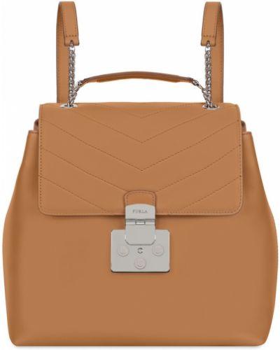 Кожаный рюкзак бежевый текстильный Furla