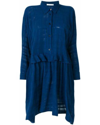 Синее платье рубашка Peter Jensen