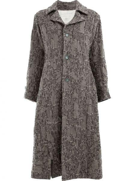 Однобортное серое шерстяное длинное пальто Renli Su