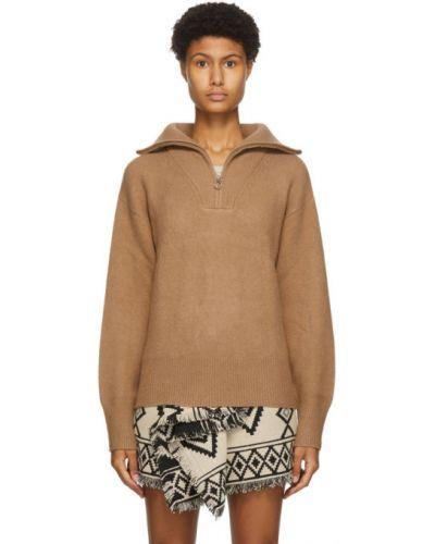 Бежевый шерстяной длинный свитер с воротником Isabel Marant étoile