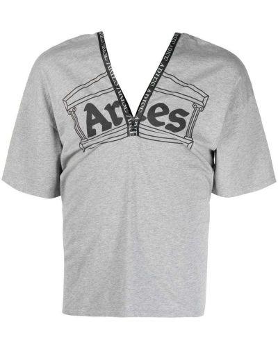 Хлопковая серая футболка с V-образным вырезом Aries