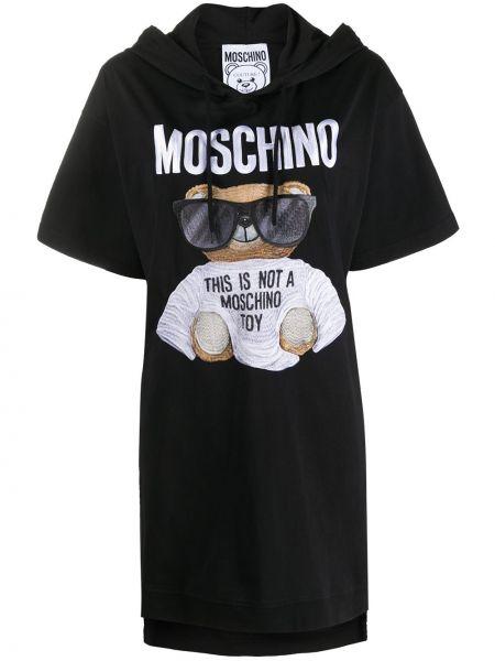 Трикотажное черное платье мини свободного кроя Moschino