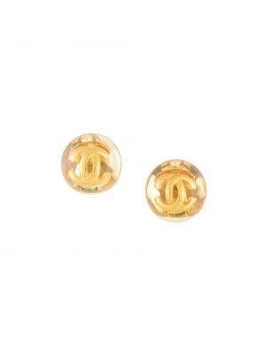 Желтые серьги круглые позолоченные Chanel Pre-owned