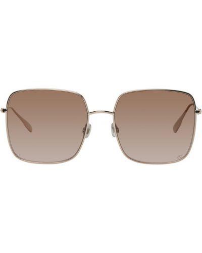 Серебряные кожаные солнцезащитные очки квадратные Dior