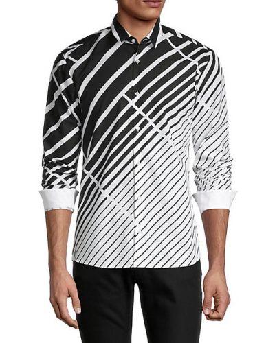 Czarna koszula bawełniana w paski Hugo Hugo Boss