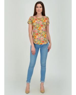 Блузка с коротким рукавом с цветочным принтом из вискозы Viserdi