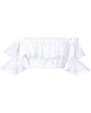 Хлопковый белый топ с вышивкой с открытыми плечами Charo Ruiz Ibiza