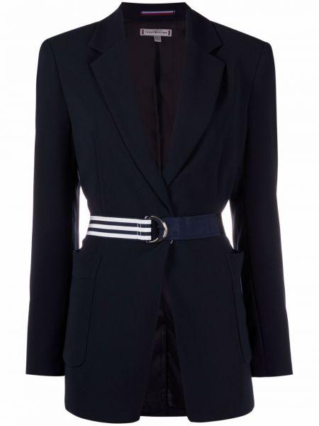 Однобортный синий удлиненный пиджак с длинными рукавами Tommy Hilfiger