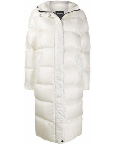 Белое пуховое длинное пальто с капюшоном Duvetica
