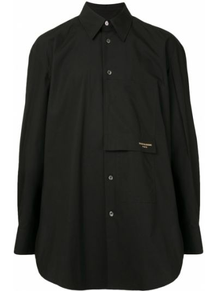 Черная рубашка с воротником с вышивкой с карманами Wooyoungmi