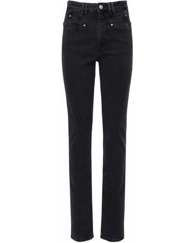 Bawełna czarny jeansy o prostym kroju z kieszeniami z łatami Isabel Marant