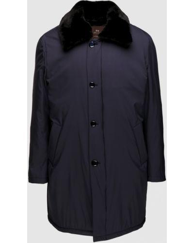 Пальто с мехом - синее Enrico Mandelli