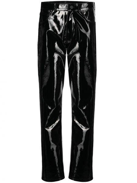 Skórzany spodni czarny klasyczne spodnie z kieszeniami David Koma