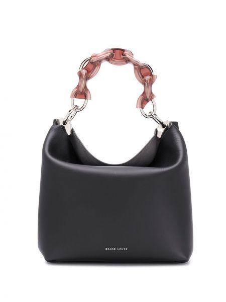 Черная кожаная сумка на цепочке с карманами Danse Lente