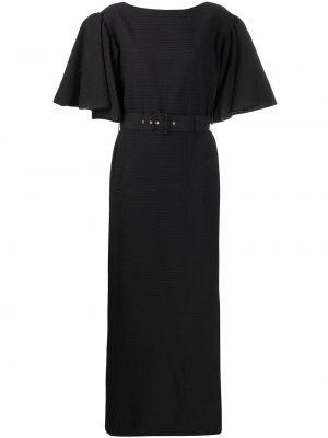 Черное платье макси с вырезом с короткими рукавами круглое Emilia Wickstead