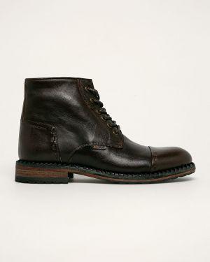 Buty skórzane brązowy Badura