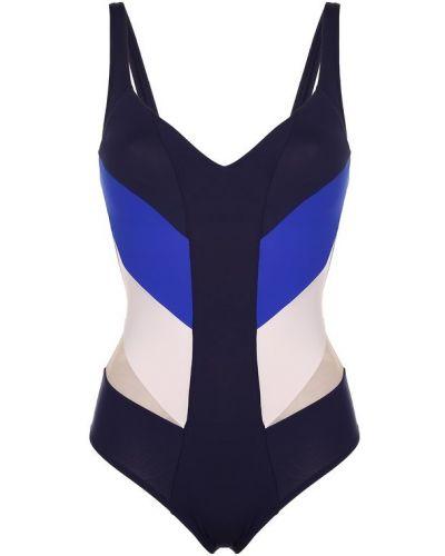 Синий слитный купальник La Perla