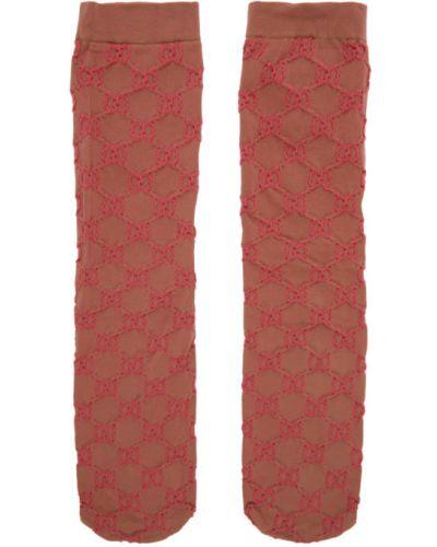 Różowe wysoki skarpety z nylonu Gucci