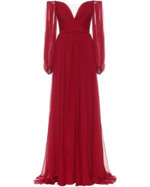 Вечернее платье через плечо шифоновое Monique Lhuillier