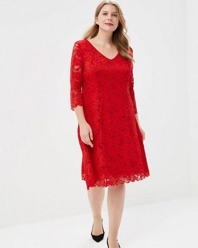 Красное платье с длинными рукавами Junarose