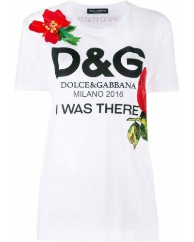 Футболка с логотипом с цветочным принтом Dolce & Gabbana