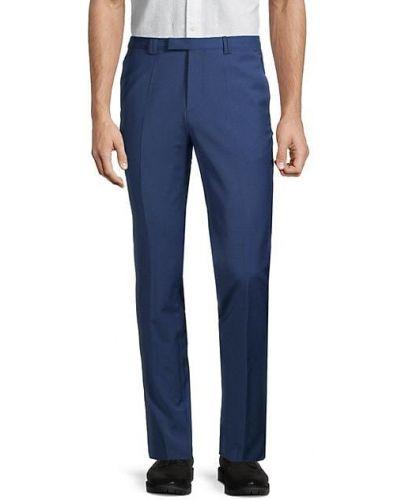 Niebieskie spodnie wełniane z paskiem Hugo Hugo Boss